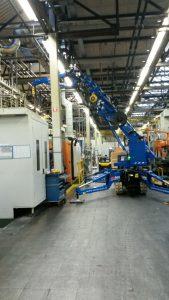 Inzet minihijskraan motorenfabriek Eindhoven